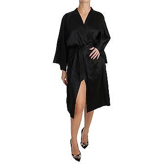Dolce & Gabbana Black Kimono Gown Silk Dressing Sleepwear Robe DR1593-M