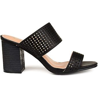 Brinley Co. Womens Santos Faux Leather Laser-Cut Dual-Strap Heeled Mules