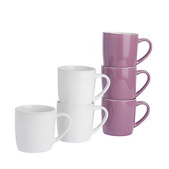 Teekahvimukit - 6kpl nykyaikaiset värilliset keraamiset kupit - 350ml - Violetti ja valkoinen