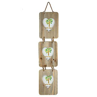 "Nicola Spring 4 x 6 Wooden Hanging Multi 3 Photo Picture Frame - Heart Shaped Aperture - Fits 4x6"" Photos - Natural"
