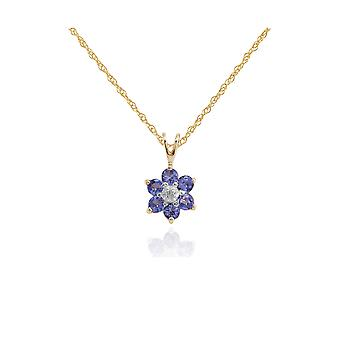 Floral Round Tanzanite & Diamond Cluster Hanger ketting in 9ct Yellow Gold 181P0016329