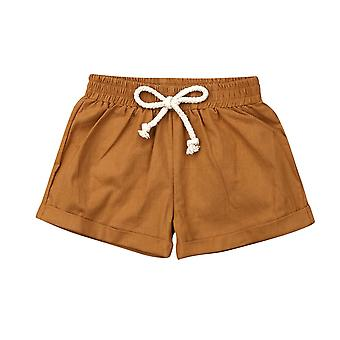 Summer Kids Baby Boys Girls Toddler Cotton Linen Shorts Casual Lace-up Plain Elastic Waist
