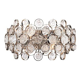Wall Bright Nickel Plate & Clear Glass 2 Light Dimmable IP20 - E14