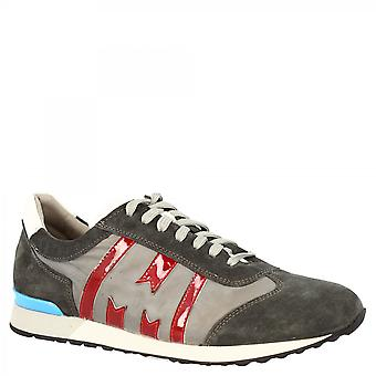 Leonardo Shoes Men's handmade round toe lace-ups sneakers shoes in gray red suede leather
