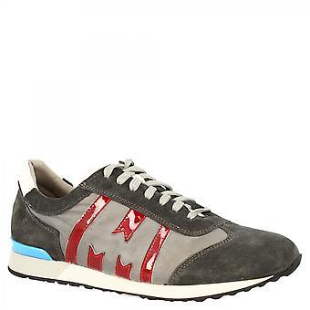 ليوناردو أحذية الرجال & apos;ق جولة اليد الدانتيل المنبثقة أحذية رياضية أحذية رياضية في جلد الغزال الأحمر الرمادي