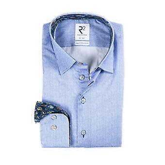 R2 Hidden Button Down Herringbone Shirt Light Blue