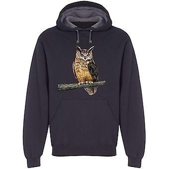 Eagle Owl Oil Painting Hoodie Men's -Image by Shutterstock