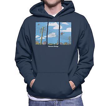 Curious George Walking On Telephone Lines Men's Hooded Sweatshirt