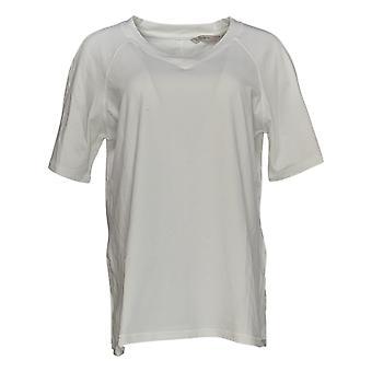 Isaac Mizrahi Live! Women's Top SOHO V-Neck Elbow-Sleeve White A385254
