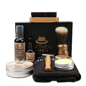 Men Beard Styling, Essence Oil, Comb, Brush With Apron Cloth Set