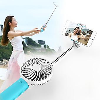 2 in 1 Portable USB Cooling Fan Blower with Three Adjustable Wind Speed + Wire Controlled Monopod Folding Extendable Handheld Pocket Holder Selfie Sti