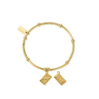 ChloBo GBCM3083 Women & s Gold Tone Cute Mini Love Letter سوار