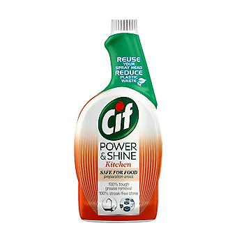 3x of 700ml Cif Power & Shine Tough Grease Removal Kitchen Spray Refill Bottle Shine Kitchen Spray Refill Bottle, 3pk of 700ml