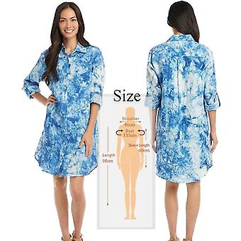Women Swimsuit Cover Mandarin Sleeve Kaftan Beach Tunic Dress