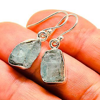"Rough Aquamarine Earrings 1 1/8"" (925 Sterling Silver)  - Handmade Boho Vintage Jewelry EARR409358"
