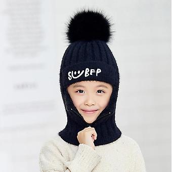 أنثى سميكة الشتاء دافئ لطيف أزياء رسالة مبتسم قبعة زيبر