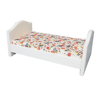 Dolls House Małe Białe Łóżko pojedyncze Miniaturowe Meble do sypialni dla dzieci