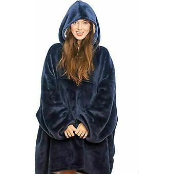 Oversized Fleece Plush Sherpa Blanket Styled Pullover With Hoodie
