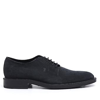 Tod's Stringed Blue Suede Derby Chaussure