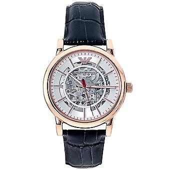 Armani Ar60009 Rose Gold And Navy Blue Leather Men's Skeleton Automatic Watch