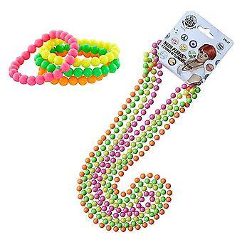 Innobase 80-as évek kiegészítők fél díszes ruha neon többszínű gyöngy nyakláncok és neon karkötő készlet pl