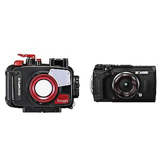 Olympus tg-6 tough camera - black with underwater case pt-059 for tg-6 camera and underwater case