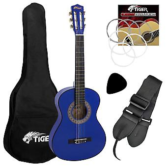 Tiger beginner 1/2 size classical guitar pack - blue guitar