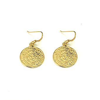 Sterling Silver 18 Karat Gold Overlay Greek Phaistos Drop Earrings