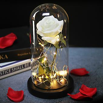 LED Light Eternal Rose Artificial Beauty The Beast In Glass Cover Christmas Home Decor For Mother Valentines Day new Year Gift