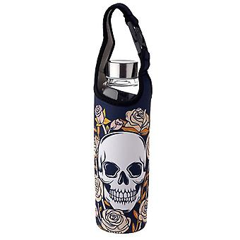 Puckator Skulls and Roses Glass Water Bottle with Sleeve