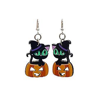 Boucles d'oreilles mignonnes de chat d'Halloween
