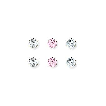 Jewelco London Ladies 9ct Yellow Gold 3mm Cubic Zircona Stud Earrings - Pack of 3 Pairs - White Pink Lilac