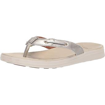 Sperry Women's Adriatic Thong Skip Lace-Leathers Sandal, Platinum, 5