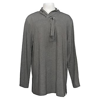 Cuddl Duds Women's Top Plus Brushed Knit Scarf Neck Tunic Gray A381709