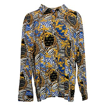 BROOKE SHIELDS Timeless Women's Printed Button Front Shirt Black A365944
