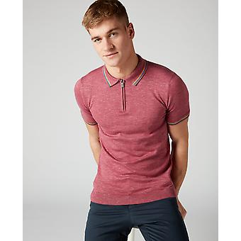 Pink With Blue Trim Knitted Quarter Zip Polo Shirt