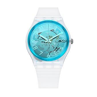 Swatch Gw215 Retro-bianco blå og gennemsigtig silikone ur