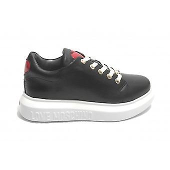Damen Schuhe Liebe Moschino Leder Sneaker Schwarz Farbe D21mo26