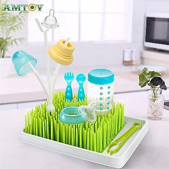 Bpa free green grass style encimera baby bottle seca rack con bandeja de agua
