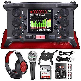 Zoom f6 6-ingång / 14 spår multi-track ultrakompakt fältinspelare + q6 dynamisk handhållen mikrofon och sr360 over-ear dynamisk stereo