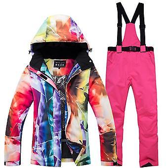 New Thick Warm Women's Ski Suit, Waterproof Windproof Skiing Jacket Pants Set