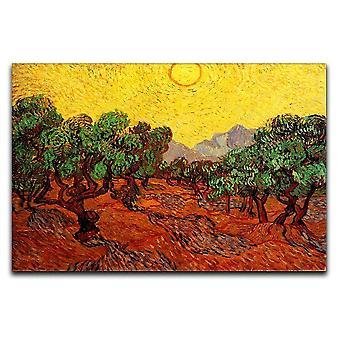 Oliivipuut keltaisella taivaalla ja aurinkokankaalla