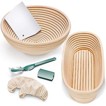 Bread Banneton Proofing Basket Set Of 2, 9 Inch Round, 10.2 Inch Oval