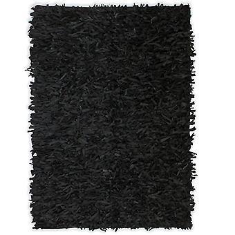 vidaXL Shaggy rug genuine leather 80 x 160 cm black