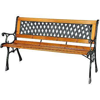 Trädgårdsbänkklassiker 126 x 52 x 73 cm – Trä med metallmönster