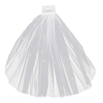 Frauen Tüll Brautschleier, Perle Hochzeitsschleier
