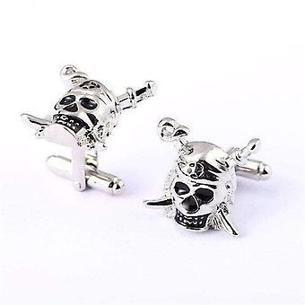 Men's pirate skull theme silver cuff links