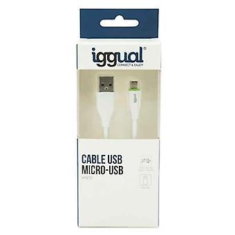 USB-kabel til micro USB iggual IGG316931 1 m Hvit
