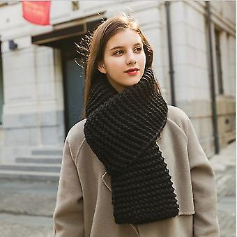 Imitation Cashmere Winter Women's Scarf Bib Thick Pure Color Knitted Thick Wool Handmade