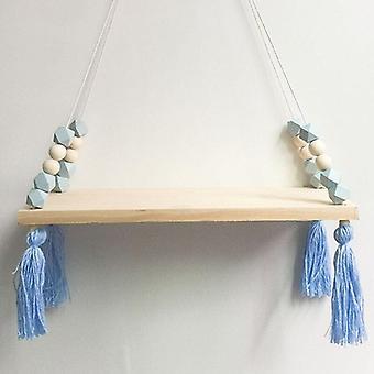(Blau) Niedliche holzige Lagerung Seil Schaukel Wand hängende Regal Regal Regale Halter Zimmer Home Decor